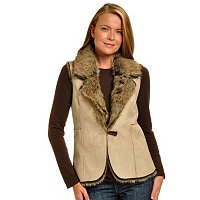 GENEOLOGY REVERSIBLE FAUX FUR VEST WITH TOGGLE CLOSURE