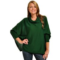 GENEOLOGY LONG SLEEVE COWL NECK PONCHO STYLE SWEATER