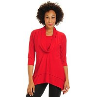 ADRESSING WOMAN 3/4 SLEEVE COWL NECK STRETCH KNIT TOP WITH HI-LO HEM