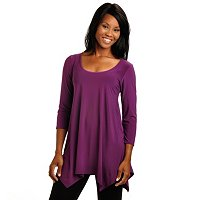 ADRESSING WOMAN 3/4 SLEEVE SCOOP NECK TUNIC WITH HANKERCHIEF HEM