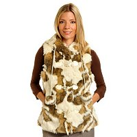 PAMELA MCCOY NOVELTY FAUX FUR HOODED TOGGLE VEST