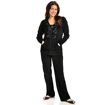 702-322 - OSO Casuals Rosette Trimmed Zip Front Velour Jacket & Pull-On Pant Set