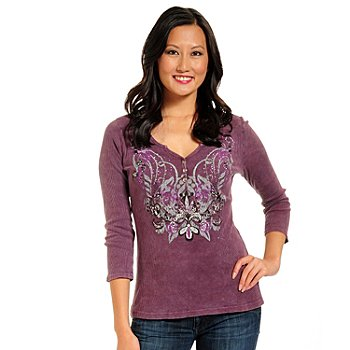 702-339 - One World Ribbed Knit 3/4 Sleeved Three-Button Henley
