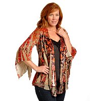 ONE WORLD STRETCH VELVET PRINTED CARDIGAN AND SATIN CAMISOLE SET