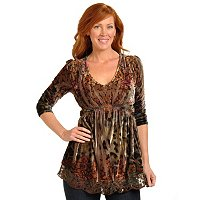ONE WORLD 3/4 SLEEVE V-NECK STRETCH VELVET PRINTED TOP W/LACE EMBELLISHED HEM