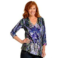 ONE WORLD 3/4 SLEEVE MICROJERSEY STRETCH KNIT TOP W/LACE APPLIQUE BACK