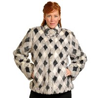 PAMELA MCOY DIAMOND PATTERN FAUX FUR JACKET