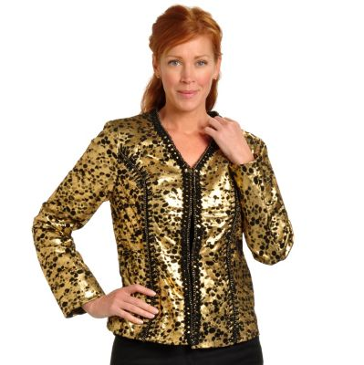 702-434 - Pamela McCoy Hook & Eye Closure Chain Detailed Suede Jacket