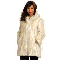 Pamela McCoy Faux Fur Ruched Hooded Jacket w/Drawcord
