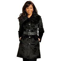 Pamela McCoy Assymetrical Trench Coat w/Piping and Belt Details