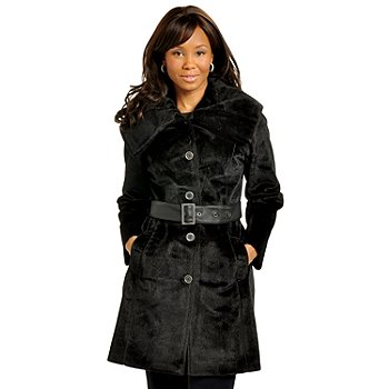 702-539 - Pamela McCoy Belted Faux Fur Trench Coat
