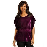 Geneology Velour Butterfly Sleeve Top with Gathered Waist