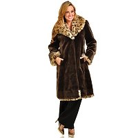Pamela McCoy Beaver Faux Fur Coat with Spotted Lynx Collar