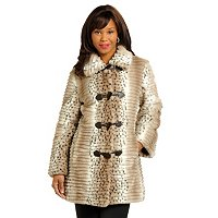 Pamela McCoy Grooved Faux Fur Toggle Jacket