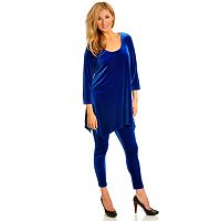 Adressing Woman Stretch Velvet 3/4 Slv Hankerchirf Hem Tunic & Leggings Set