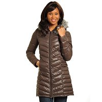 Big Chill Packable Mid-Length Lightweight Down Coat w/Removable Hood & FF Trim