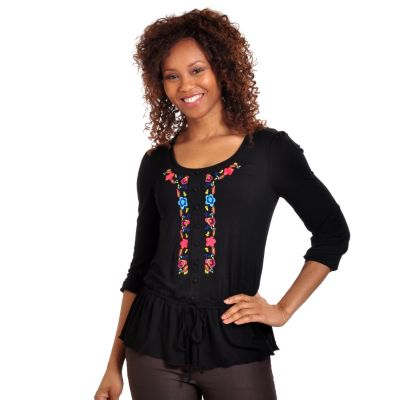702-617 - Geneology 3/4 Sleeved Drawstring Waist Embroidered Knit Tunic
