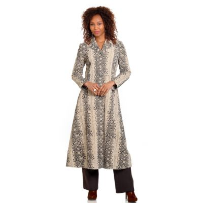 702-645 - Pamela McCoy Leather Notched Collar Python Printed Walker Coat