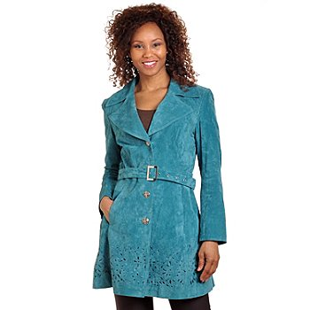 702-649 - Pamela McCoy Cut-out Detail Washable Suede Belted Trench Coat