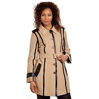 PMC Full Length Brushed Twill Trench w/ PU Trim