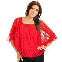Geneology All-Over Lace Top w/Butterfly Sleeves & Crochet Trim