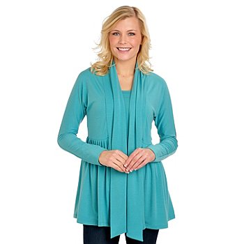 702-656 - Kate & Mallory Stretch Knit Open Front Pleated Cardigan & Tank Top Set