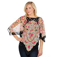 Kate & Mallory Wide Neck Printed Chiffon Top