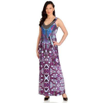 702-690 - One World Printed Knit Sleeveless Beaded Scoop Neck Maxi Dress