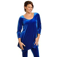 ADRESSING WOMAN STRETCH VELVET 3/4 SLV HANKERCHIRF HEM TUNIC