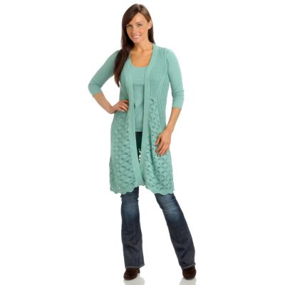 702-694 - Geneology Crochet Knit Sleeveless Duster Length Sweater Cardigan