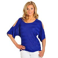 Carson Kressley Reverse Jersey Cold Shoulder Sweater