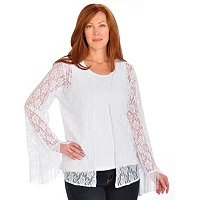 Kate & Mallory Open Front Lace Cardigan Set w/ Tank