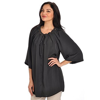 702-710 - Love, Carson by Carson Kressley Button Front Grommet Detail Woven Tunic