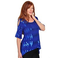 Carson Kressley Sequin Sharkbite Hem Top