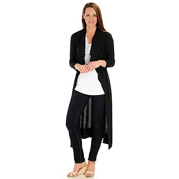 702-718 - Kate & Mallory Stretch Knit Long Sleeved Open Front Maxi Cardigan