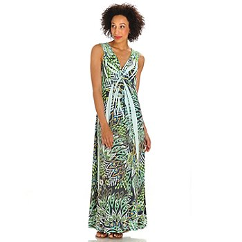 702-733 - One World Stretch Knit Backlique Detail Printed Maxi Dress