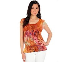 One World Tie Dye Micro Flutter Applique Top