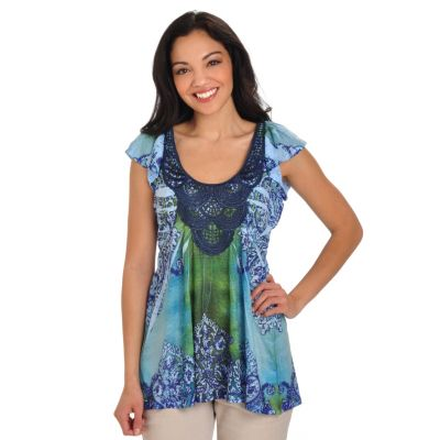 702-757 - One World Printed Knit Flutter Sleeve Scoop Neck Crochet Trim Top