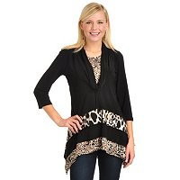 Adressing Woman L/S Cowl Neck w/ Hi-Lo Hem and Animal Print