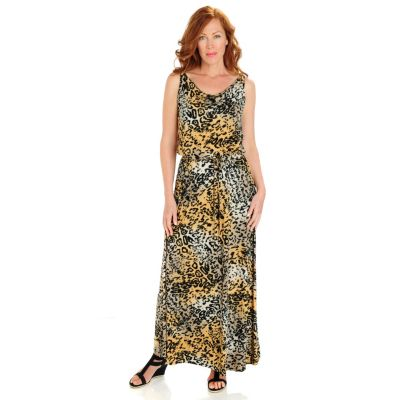 702-794 - Love, Carson by Carson Kressley Stretch Knit Sleeveless Drawstring Waist Maxi Dress