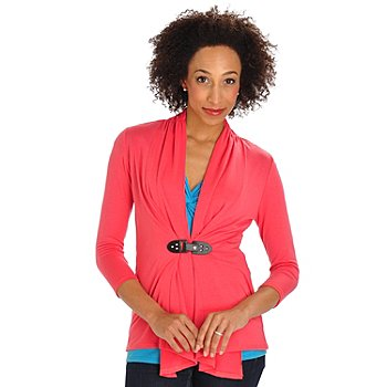702-810 - Geneology Stretch Knit 3/4 Sleeved Buckled Closure Cardigan