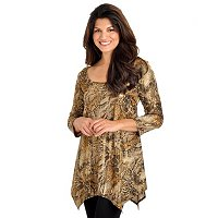 aDRESSing Woman 3/4 Sleeve Animal Print Scoop Neck Top with Metallic Wash
