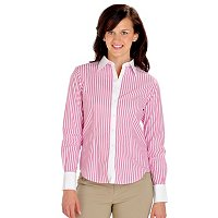 Brooks Brothers Spago Wide Stripe Blouse With Pick Stitch Collar & Cuff