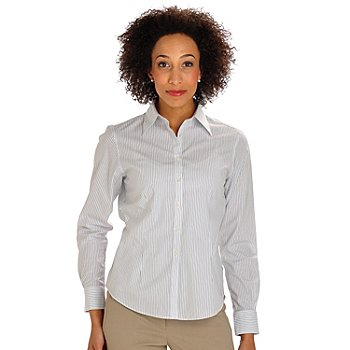 702-879 - Brooks Brothers® Stretch Cotton Button Front Simple Stripe Spago Blouse