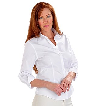 702-890 - Brooks Brothers® Stretch Cotton 3/4 Sleeved Button Down Non-Iron Blouse