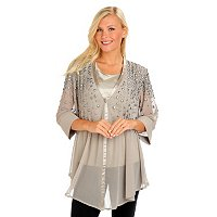 Geneology Embellished Chiffon Blouse with Satin Trim and Satin Tank