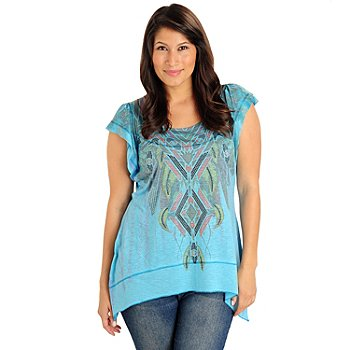 702-919 - One World Navajo Design Rhinestone Detail Sharkbite Hem Knit Top