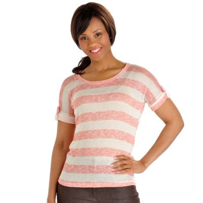 702-945 - Geneology Stripe Knit Tab Sleeve Scoop Neck Top