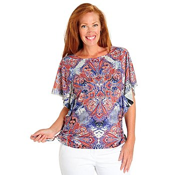 702-956 - One World Print Knit Butterfly Sleeved Stud Accented Side Cinch Top