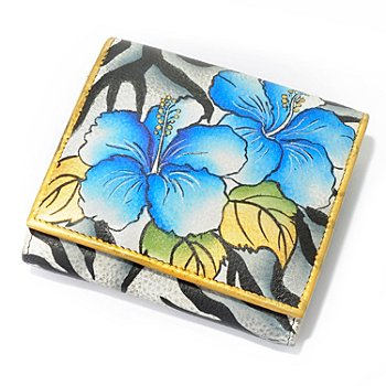 703-208 - Anuschka Hand-Painted Leather Tri-Fold Wallet with Exterior Pocket